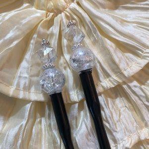 Set Pair of Wooden Beaded Hair Sticks